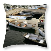 View Of Boats At A Harbor, Rockland Throw Pillow