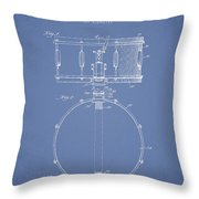 Snare Drum Patent Drawing From 1939 - Light Blue Throw Pillow