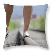 Walking On Railroad Tracks Throw Pillow