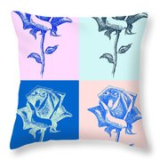 4 Warhol Roses By Punt Throw Pillow
