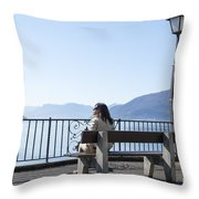 Woman Sitting On A Bench Throw Pillow