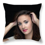 Woman Smiling Throw Pillow