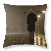 Woman With An Umbrella Throw Pillow