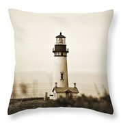 Yaquina Head Lighthouse - Sepia Texture Throw Pillow