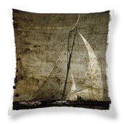 40 Sailboat - With Open Wings In A Grunge Background  Throw Pillow