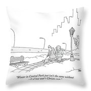 Winter In Central Park Just Isn't The Same Throw Pillow