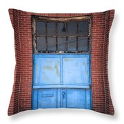 401 Blue Factory Door Throw Pillow