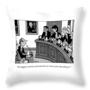 I'm Happy To Answer Your Question Throw Pillow