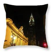 42nd Street Night Throw Pillow