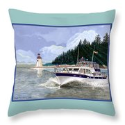 43 Foot Tollycraft Southbound In Clovos Passage Throw Pillow