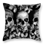 Skulls And Bones In The Catacombs Of Paris France Throw Pillow
