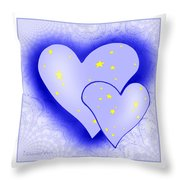 457 - Two Hearts Blue Throw Pillow