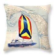 39 Foot Beneteau Cape Cod Chart Art Throw Pillow