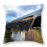 460 Foot Long New Hampshire Covered Bridge Throw Pillow