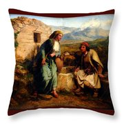 Greek Shepherd And Maiden By A Well Throw Pillow