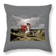 Crossing The Heath Windy Day Throw Pillow