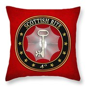 4th Degree - Secret Master Or Master Traveler Jewel On Red Leather Throw Pillow