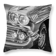 1958 Chevrolet Bel Air Impala Painted Bw  Throw Pillow