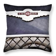 1959 Aston Martin Jaguar C-type Roadster Hood Emblem Throw Pillow
