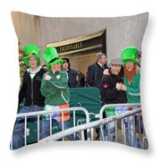 A View Of Some People Enjoying The 2009 New York St. Patrick Day Throw Pillow