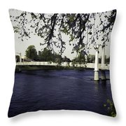 A Wonderful Suspension Bridge Over The River Ness In Inverness Throw Pillow