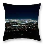Aerial View Of A City Lit Up At Night Throw Pillow