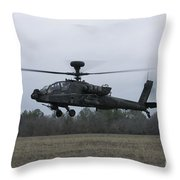 An Ah-64 Apache Helicopter In Midair Throw Pillow