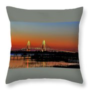 Arthur Ravenel Bridge Orange Glow Throw Pillow
