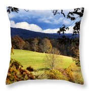 Autumn Hillside And Rain Clouds Throw Pillow