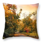 Autumn's Sunset Path Throw Pillow