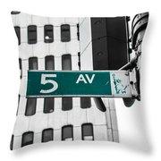 5 Ave. Sign Throw Pillow