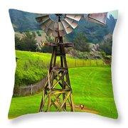 Painting San Simeon Pines Windmill Throw Pillow