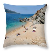 Beach In Legrena Throw Pillow