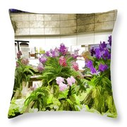 Beautiful Flowers Inside The Changi Airport In Singapore Throw Pillow