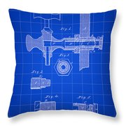Beer Tap Patent 1876 - Blue Throw Pillow
