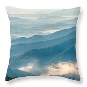 Blue Ridge Parkway Scenic Mountains Overlook Summer Landscape Throw Pillow