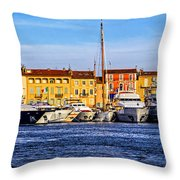 Boats At St.tropez Throw Pillow