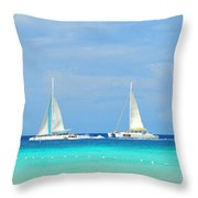 5 Boats In A Row Throw Pillow