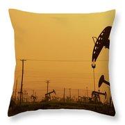 California Oil Field Under Amber Sky Throw Pillow