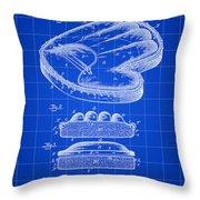 Catcher's Glove Patent 1891 - Blue Throw Pillow