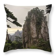 Chinese White Pine On Mt. Huangshan Throw Pillow