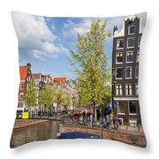 City Of Amsterdam Cityscape Throw Pillow
