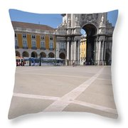 Commerce Square In Lisbon Throw Pillow