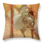 Dancers Throw Pillow by Edgar Degas