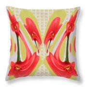 Dancing Tulip Red Exotic Flower Petal Based Wave Pattern  Created By Navinjoshi Reiki Healing Master Throw Pillow