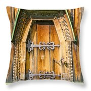 Detail Of The Door Of A Typical Ukrainian Antique Orthodox Churc Throw Pillow
