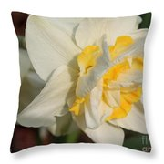 Double Daffodil Named White Lion Throw Pillow