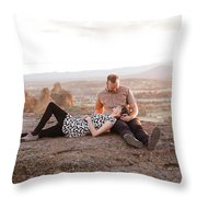 Engaged Couple At Smith Rock In Oregon Throw Pillow