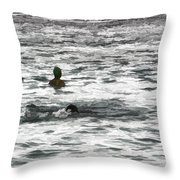 Enjoying The Water In The Coral Reef Lagoon Throw Pillow