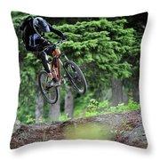 Extreme Biking In Alaska Throw Pillow
